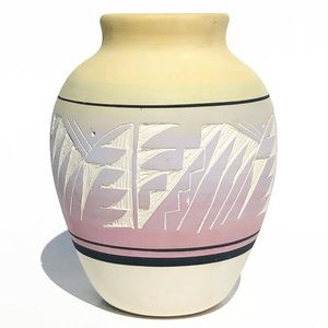 Vintage Navajo Pottery Vase Painted Carved Clay